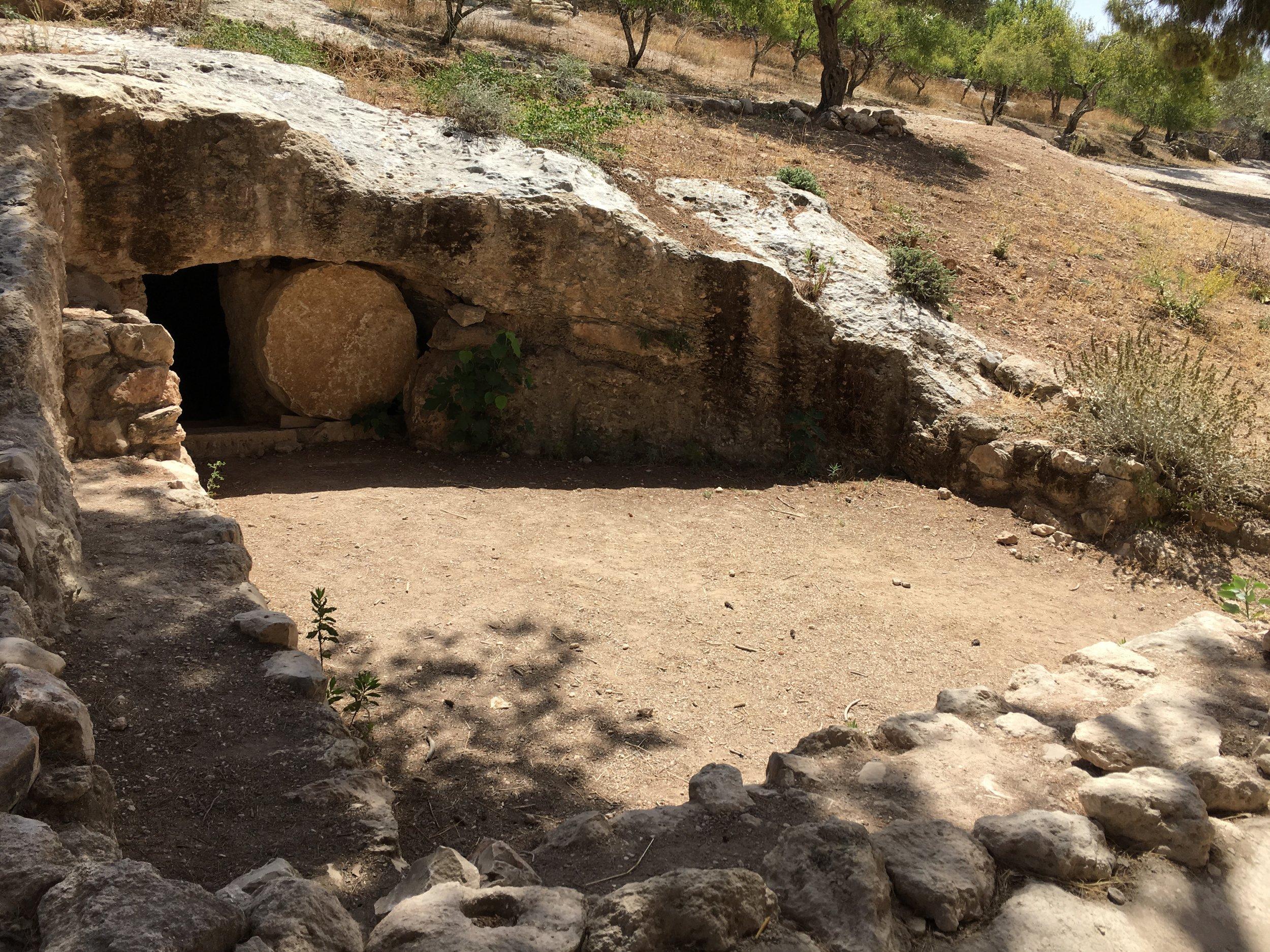 The exterior of a replica, 1st century tomb at Nazareth Village, Nazareth, Israel. Image © Jeremy Dehut