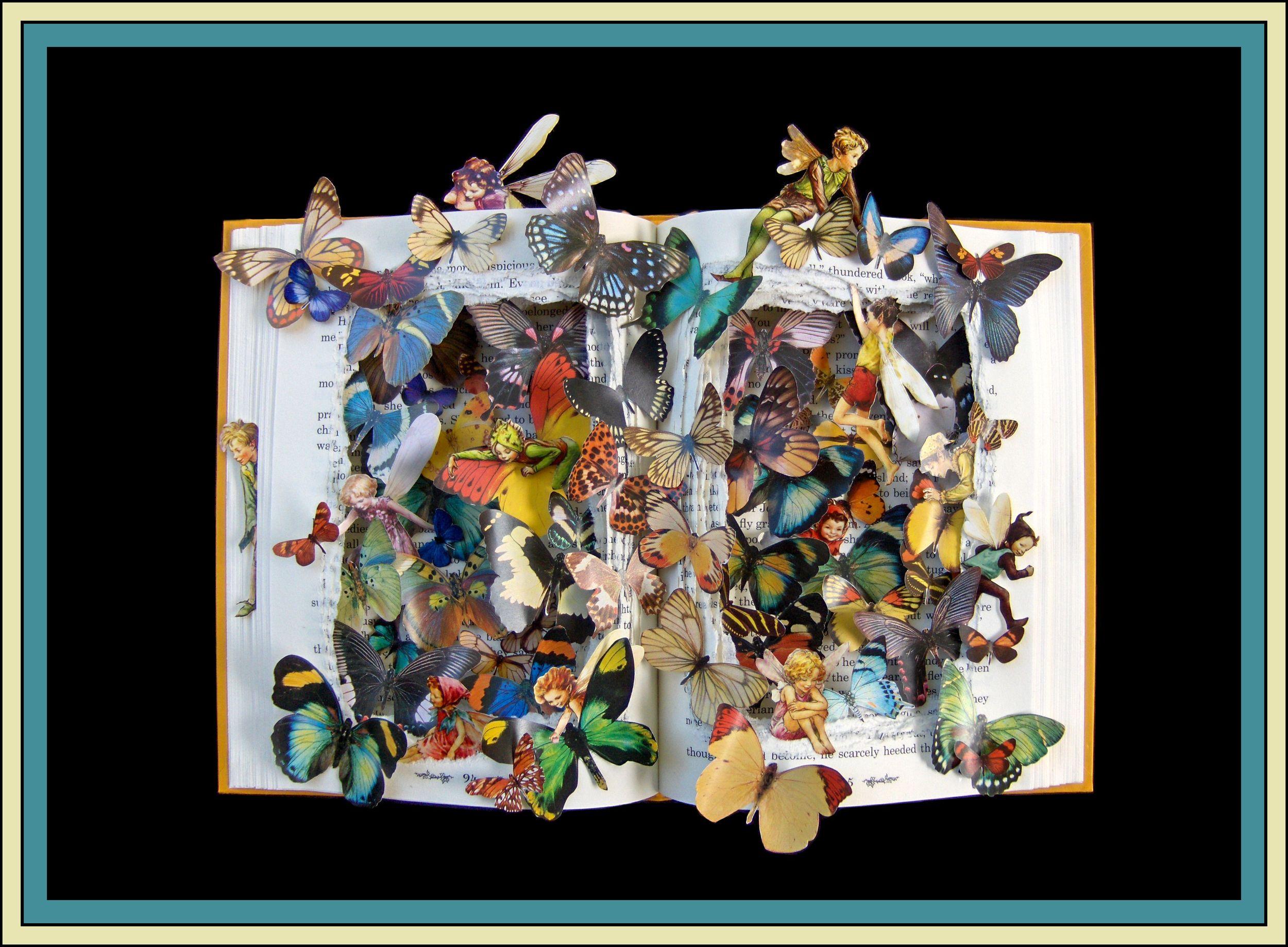 Butterflies & Fairies - 12x16x2.5 Book Sculpture