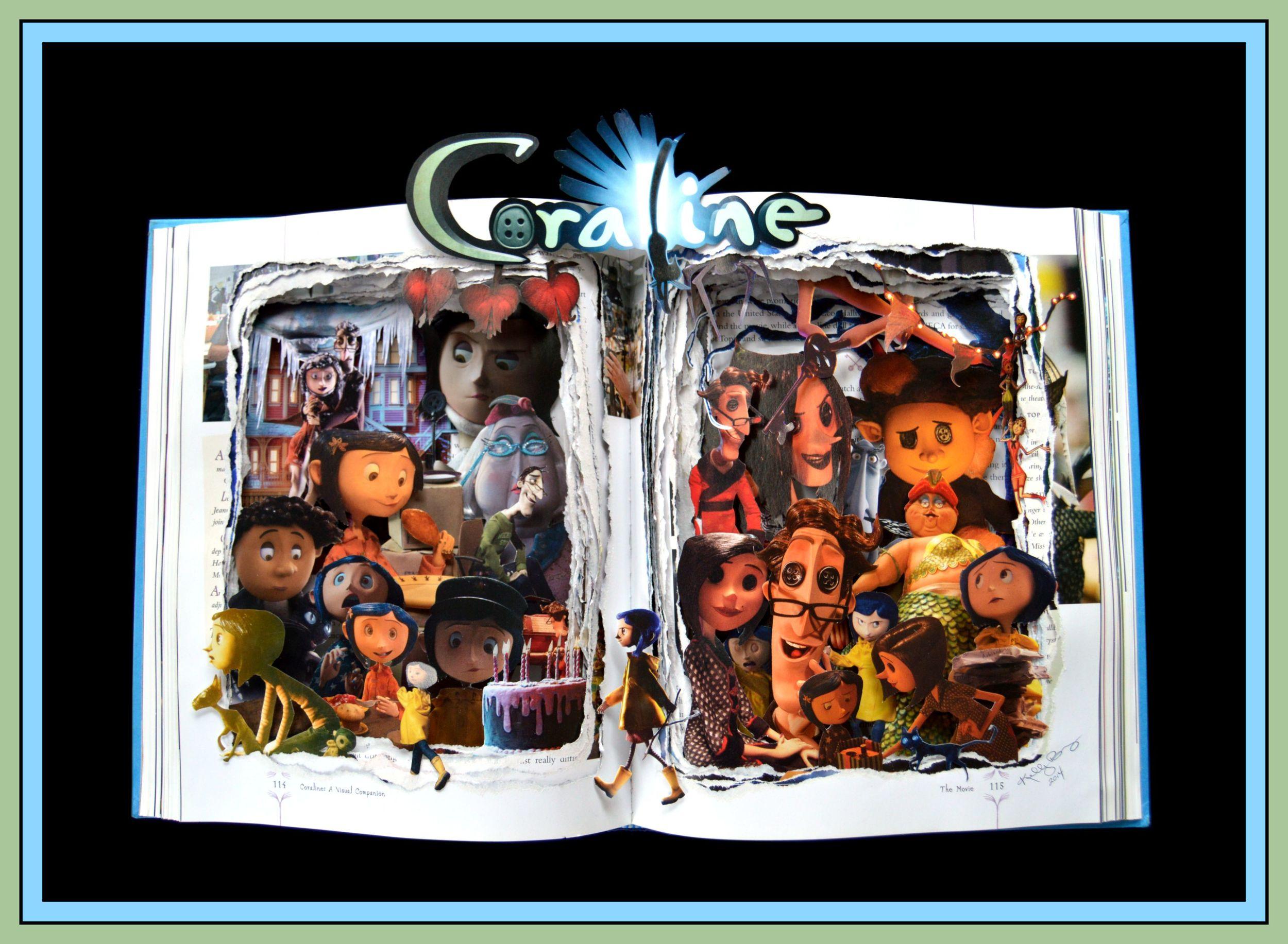 Coraline - 16x20x3 - Book Sculpture