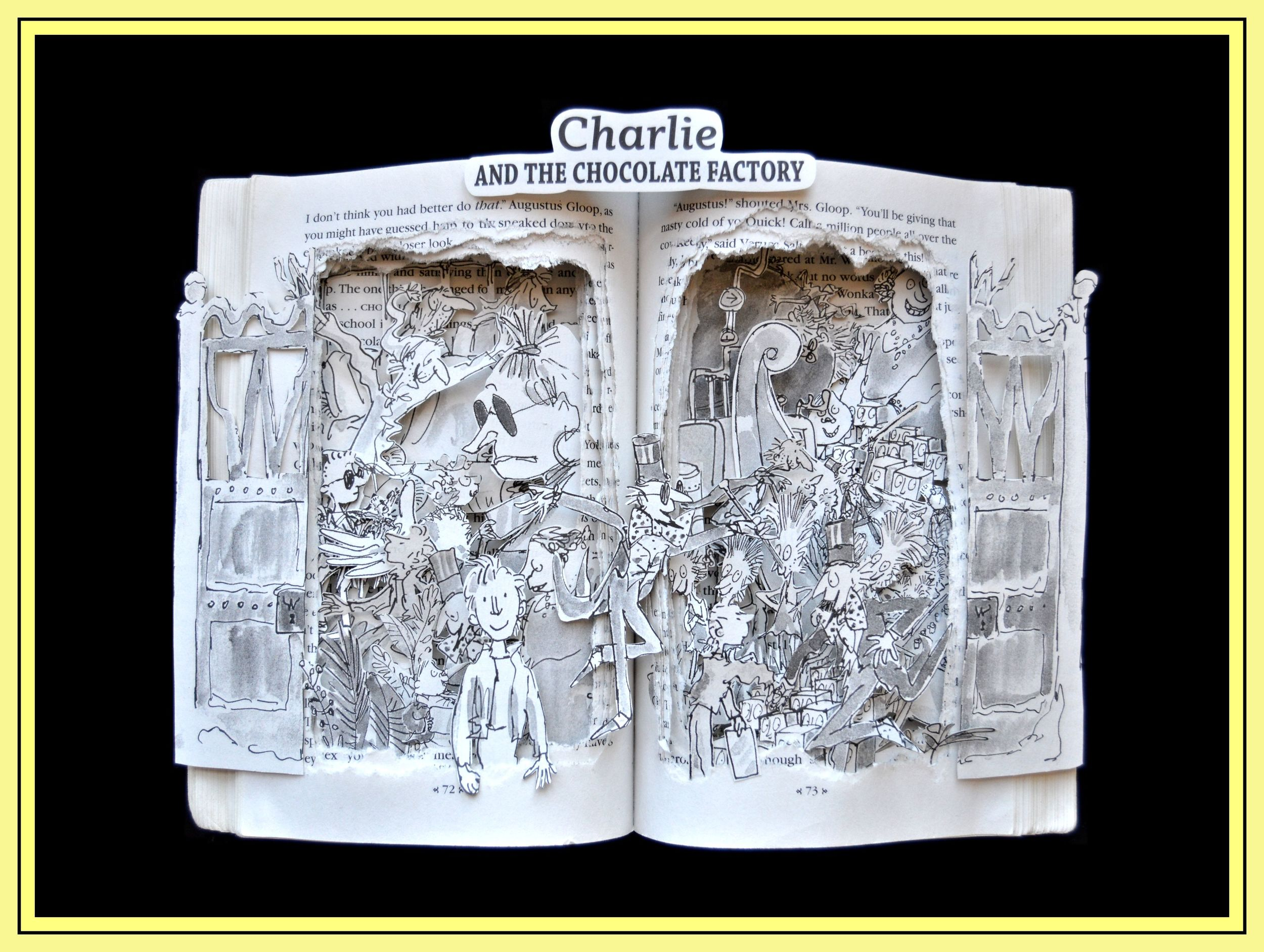 Charlie and The Chocolate Factory - 12x16x3 Book Sculpture