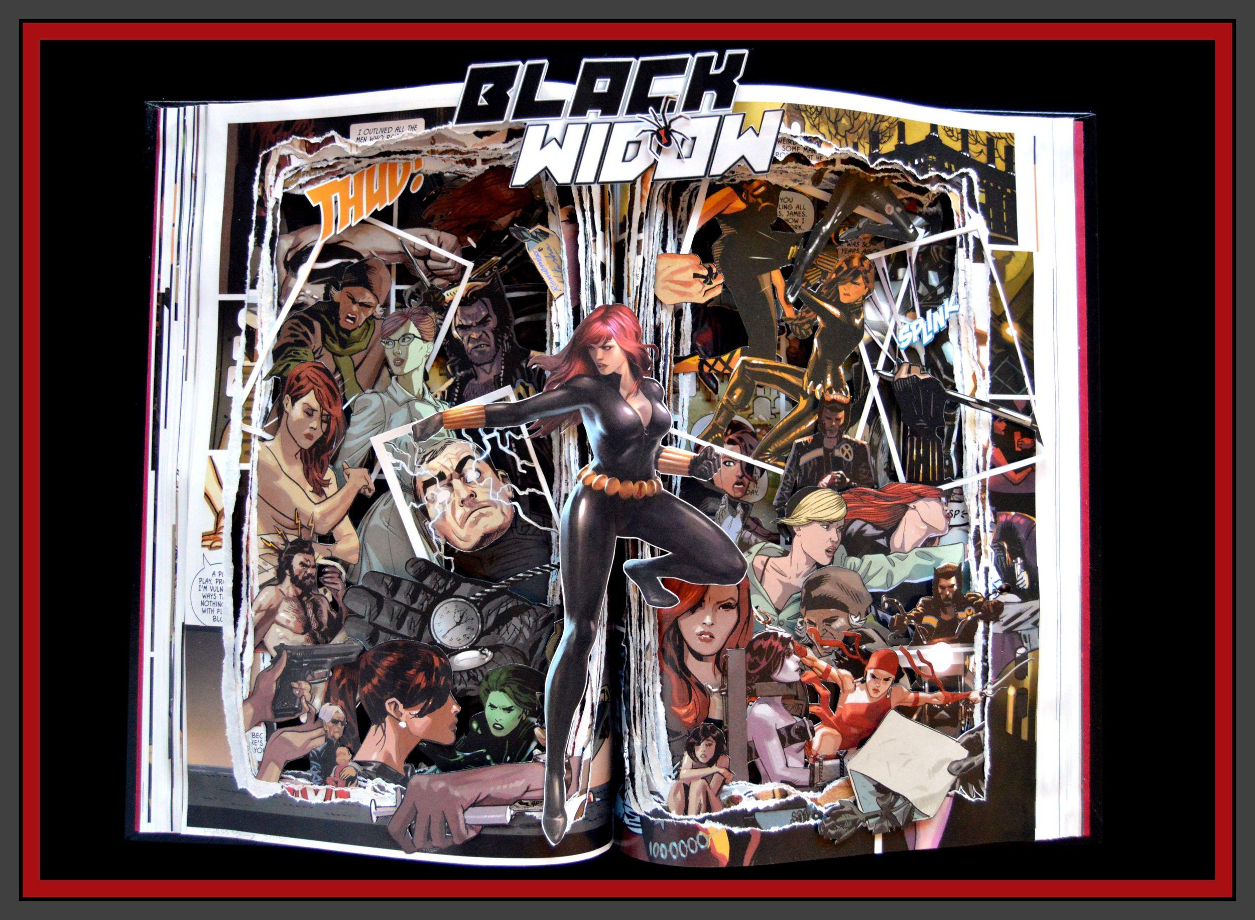 Black Widow Graphic Novel Book Sculpture - 12x16x3