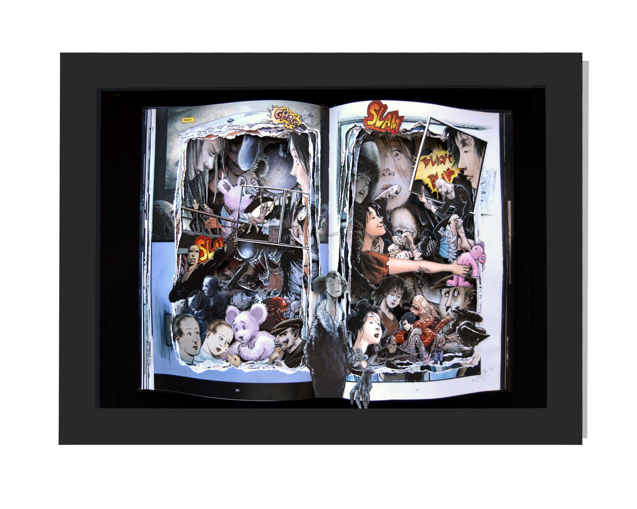 ALIENS 12x16x3 Custom Order Book Sculpture