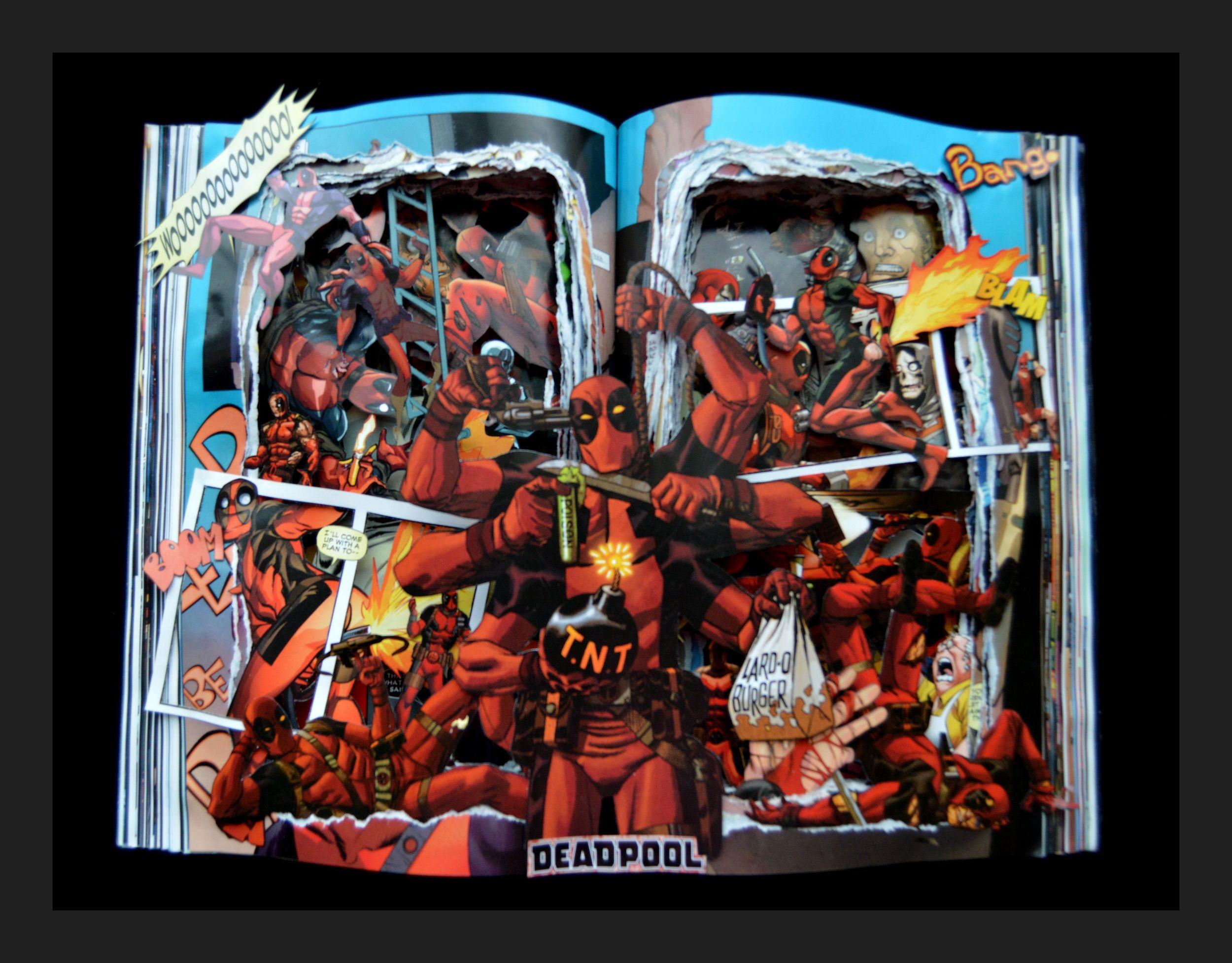 DEADPOOL Graphic novel book Sculpture - 12x16x3