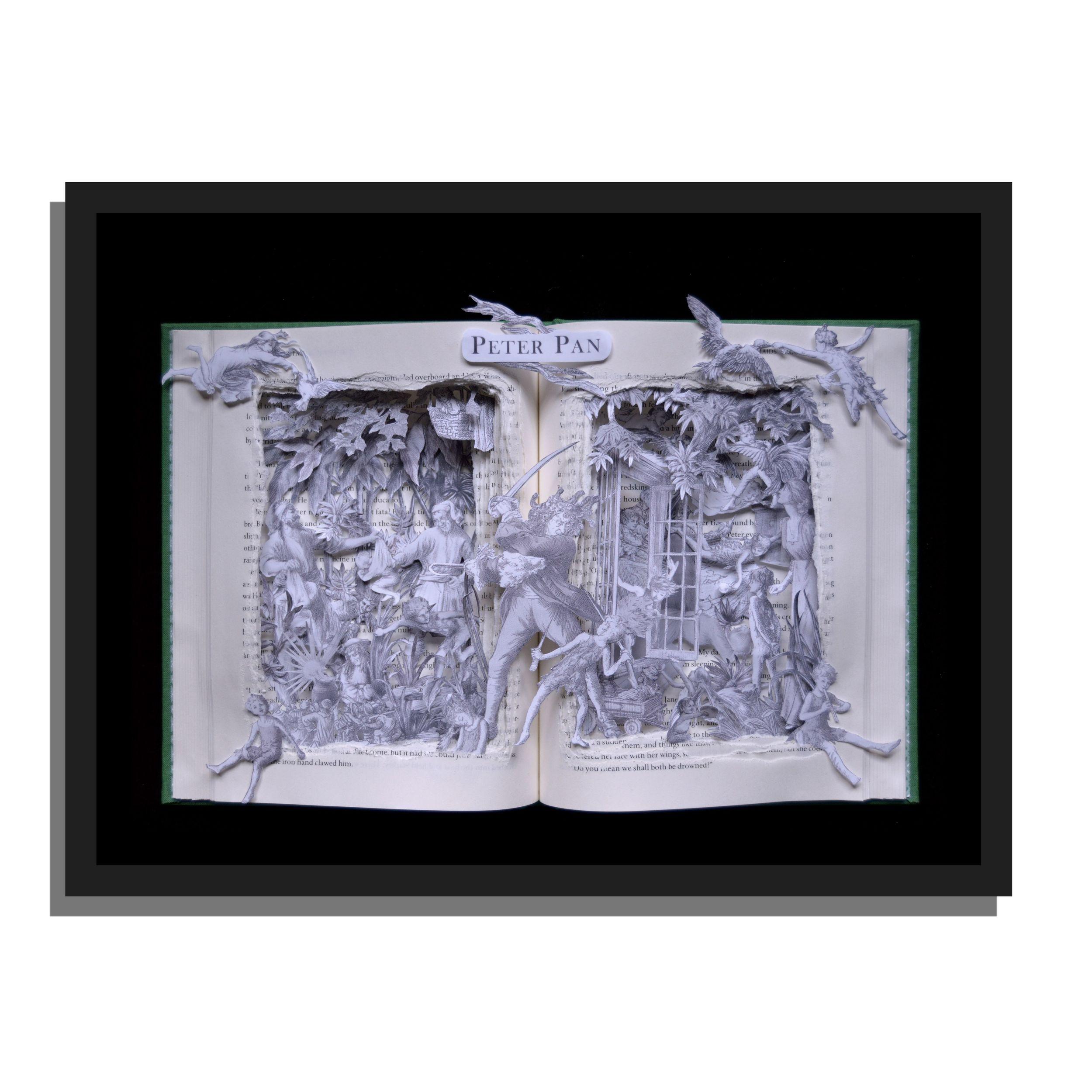 """Peter Pan Book Sculpture 12x16x3"""" Fully framed."""