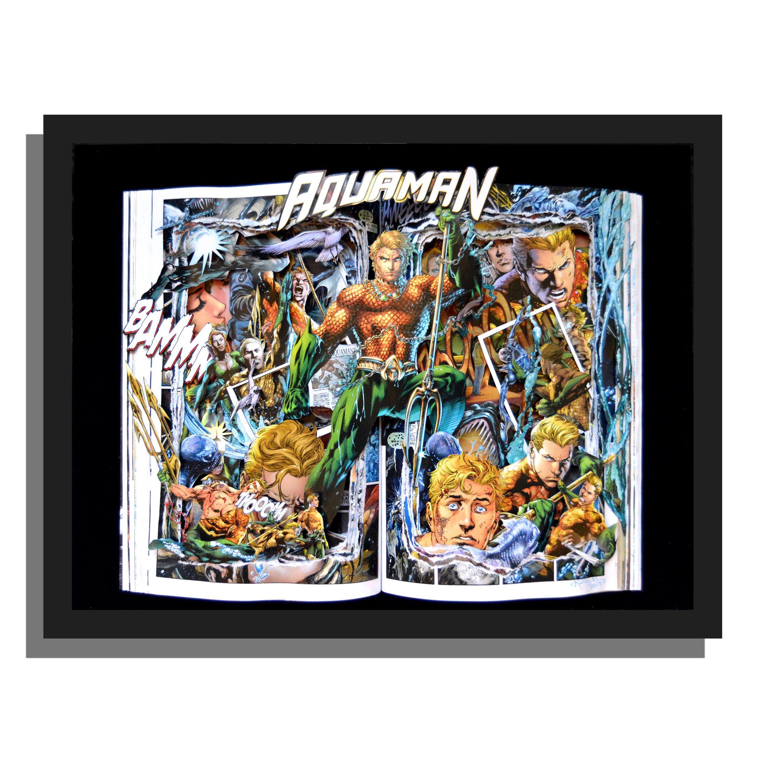 Aquaman 12x16x3 Graphic Novel Sculpture Shadowbox Framed