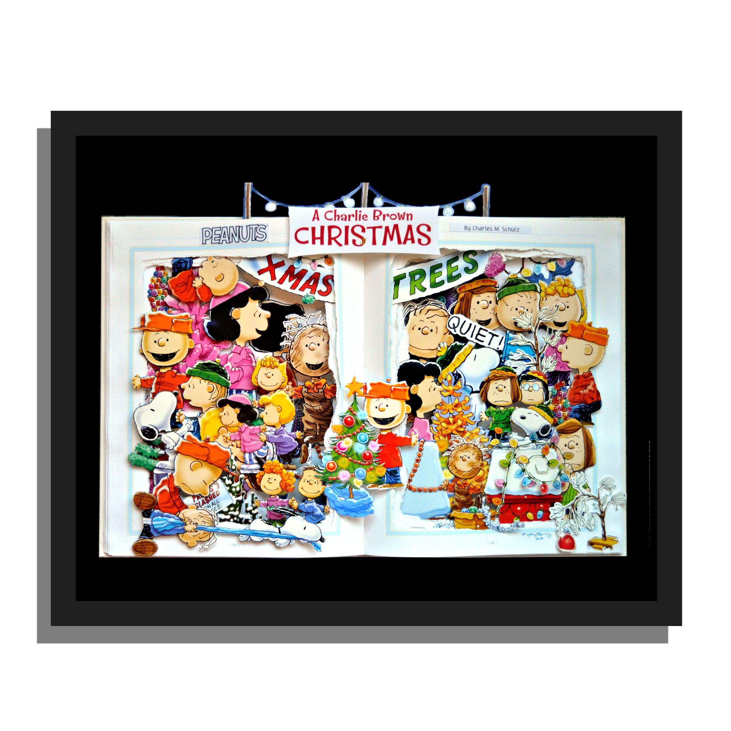 Charlie Brown Christmas - 16x20x3 Book Sculpture - Custom Order