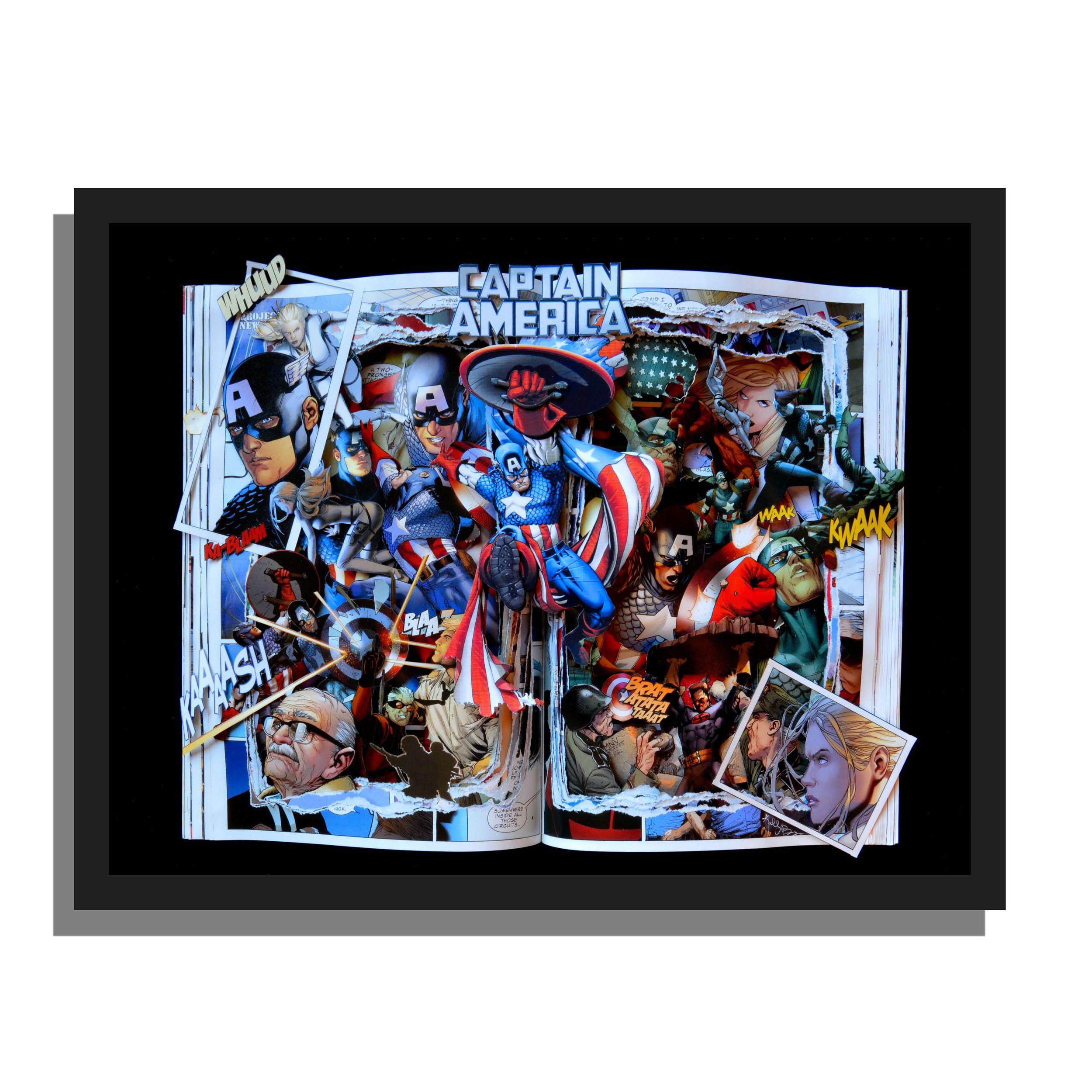 Captain America Graphic Novel Book Sculpture