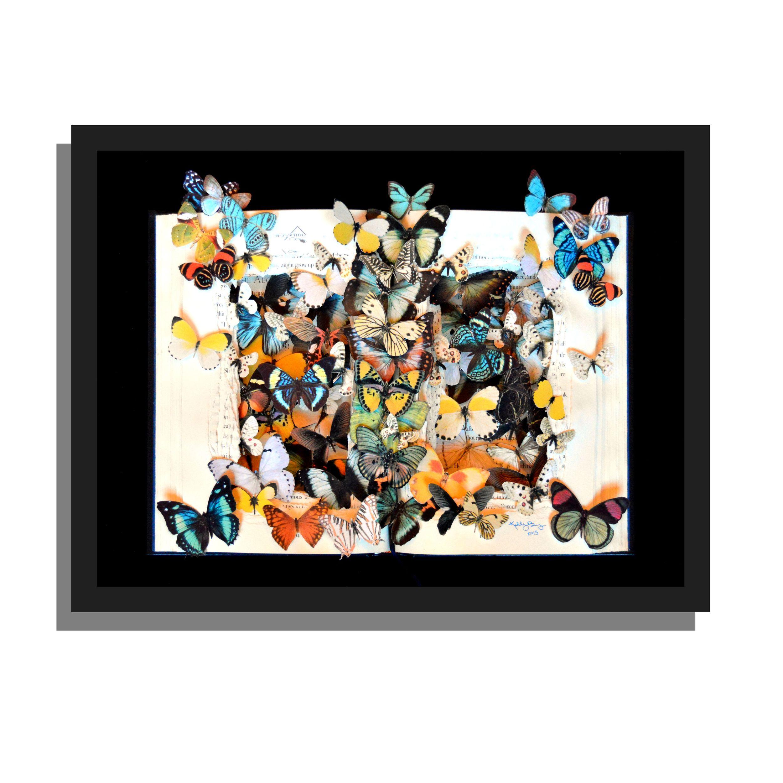 Butterflies in Flight book sculpture - 12x16x3