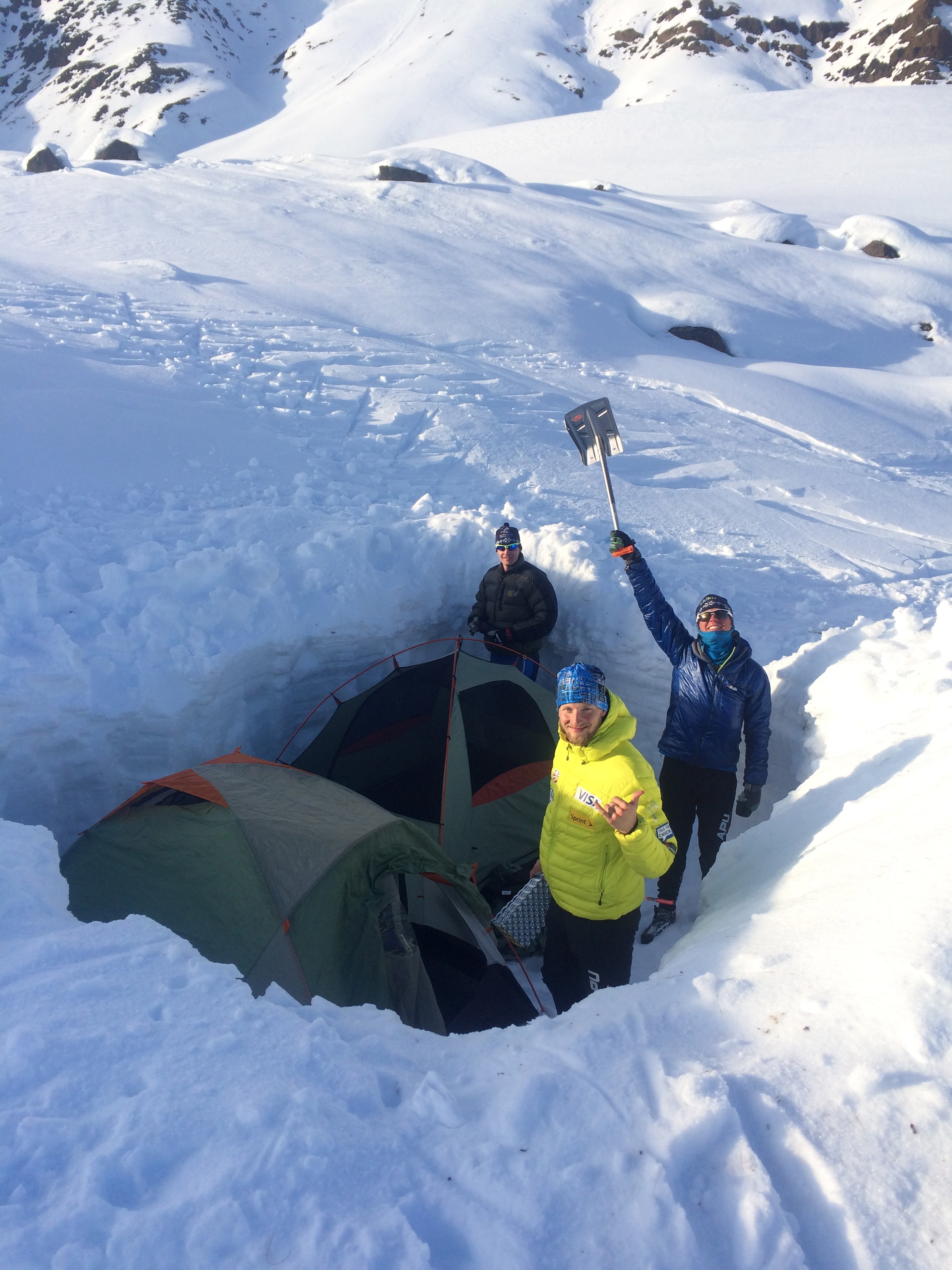 After digging through 3ft of sugar the tents have a solid foundation. Sleeping bag time!