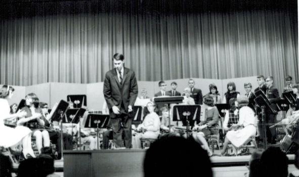 Mr. Kramer conducting a Mansfield youth orchestra in the late 1960s.