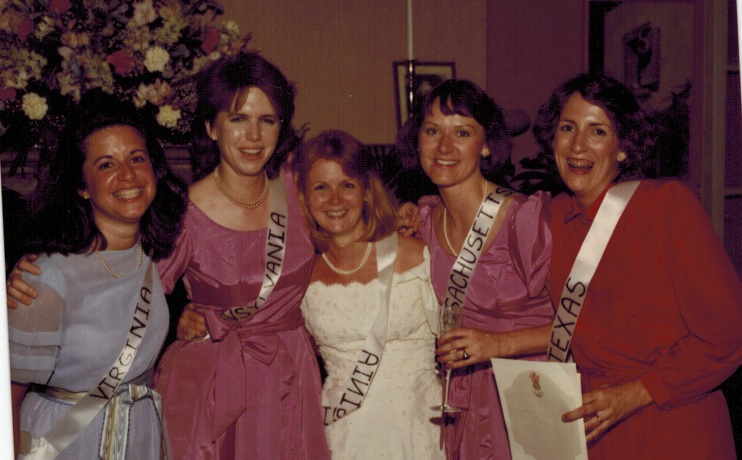 A few years out of college, some of our freshman friends - Annie, me, Lauren, Laura, and Carol - attending each other's celebrations and weddings.