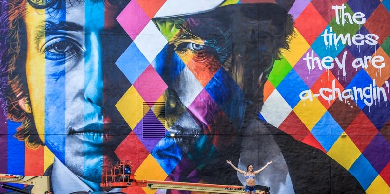 Dylan mural by Brazilian artist Kobra - completed summer 2015 in downtown Minneapolis.
