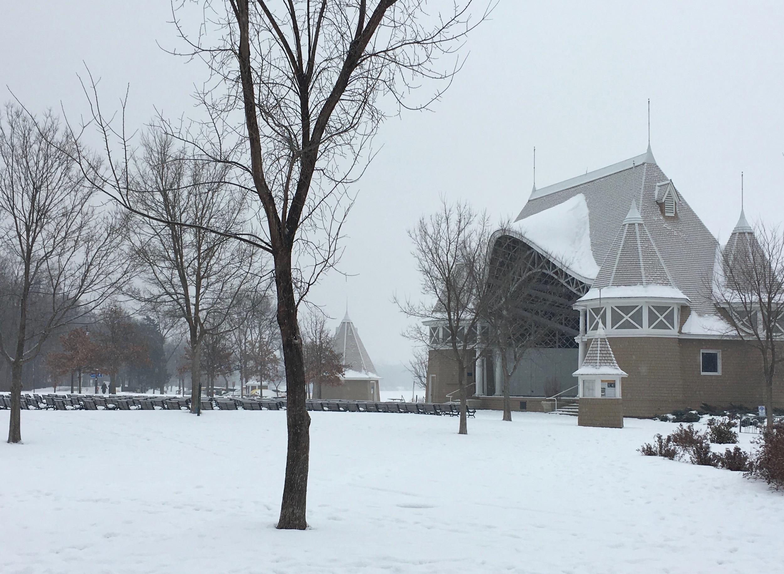 Winter version of Lake Harriett Bandshell .