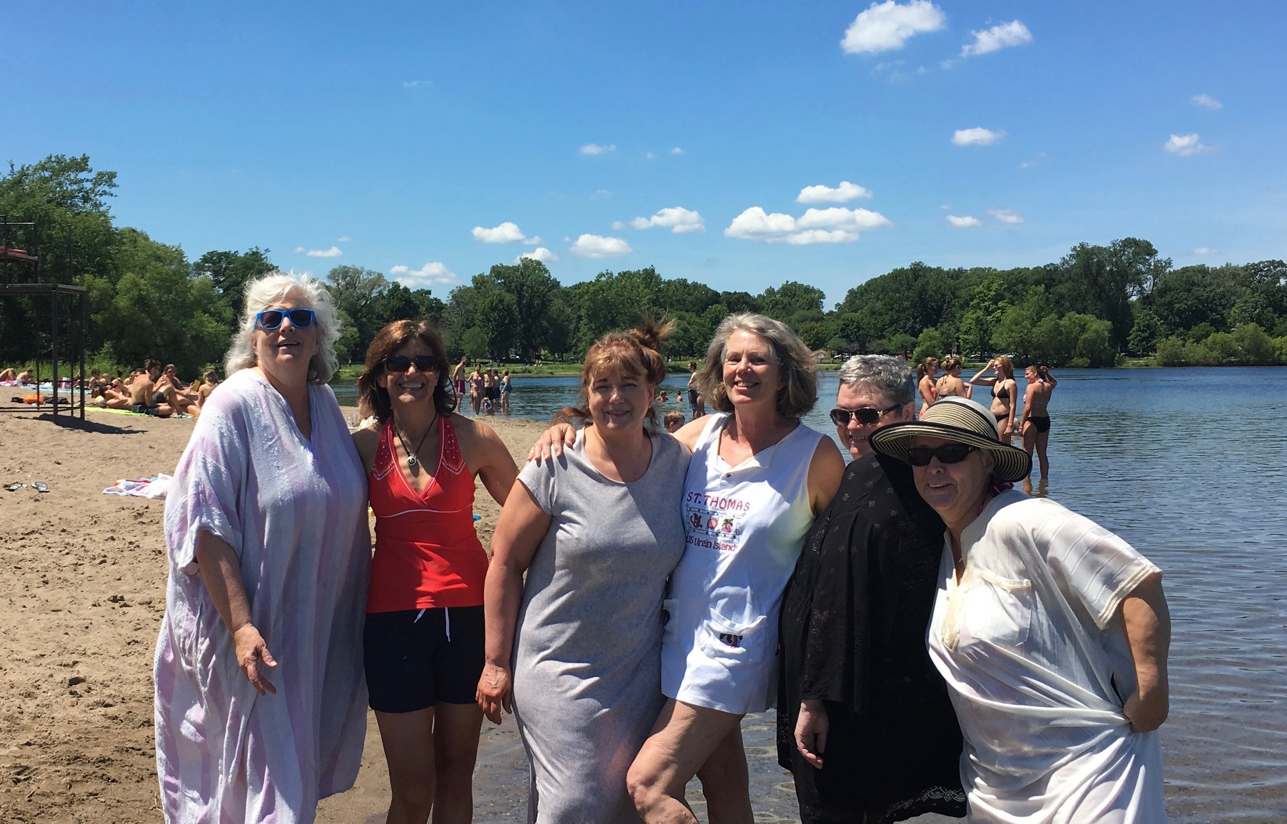 Moms in muumuus at the lake, missing a few more discreet madams - Sheree, Val, and Becky.