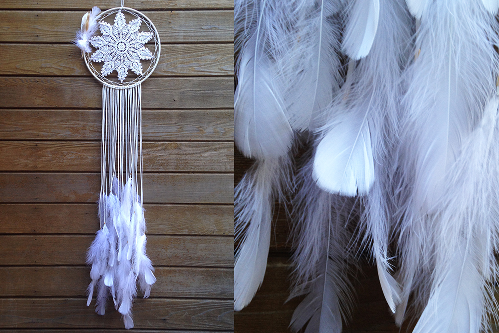 Long White Goose Feather Dreamcatcher