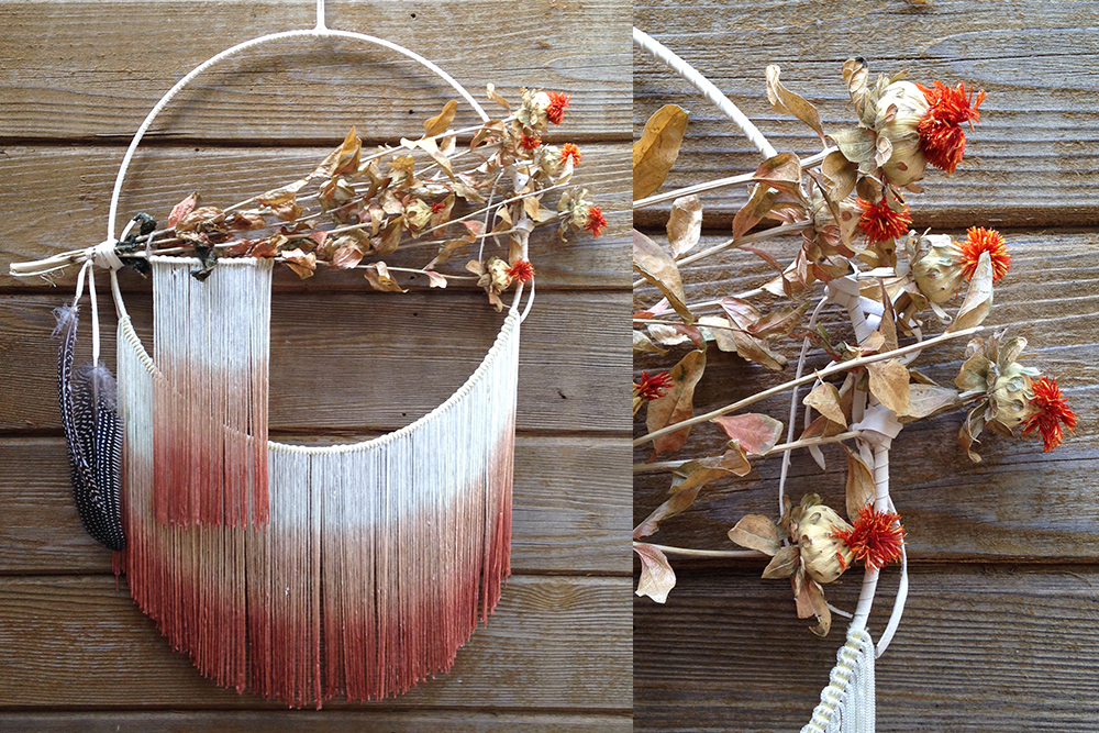 Ivory and Peach Double Ombre Fringe Dreamcatcher