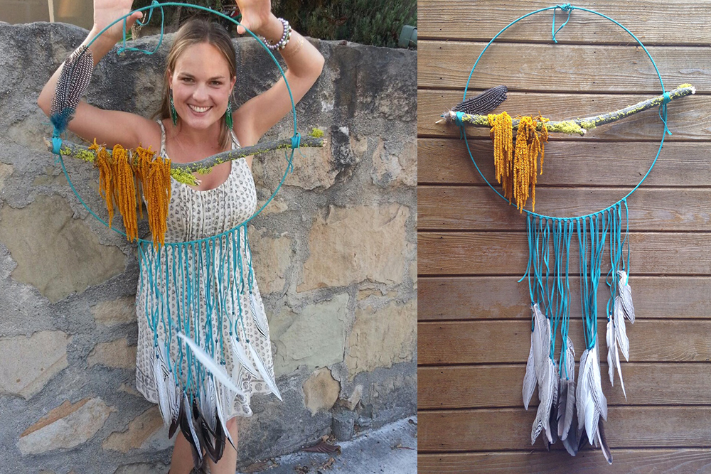 Extra Large Turquoise and Amaranth Dreamcatcher