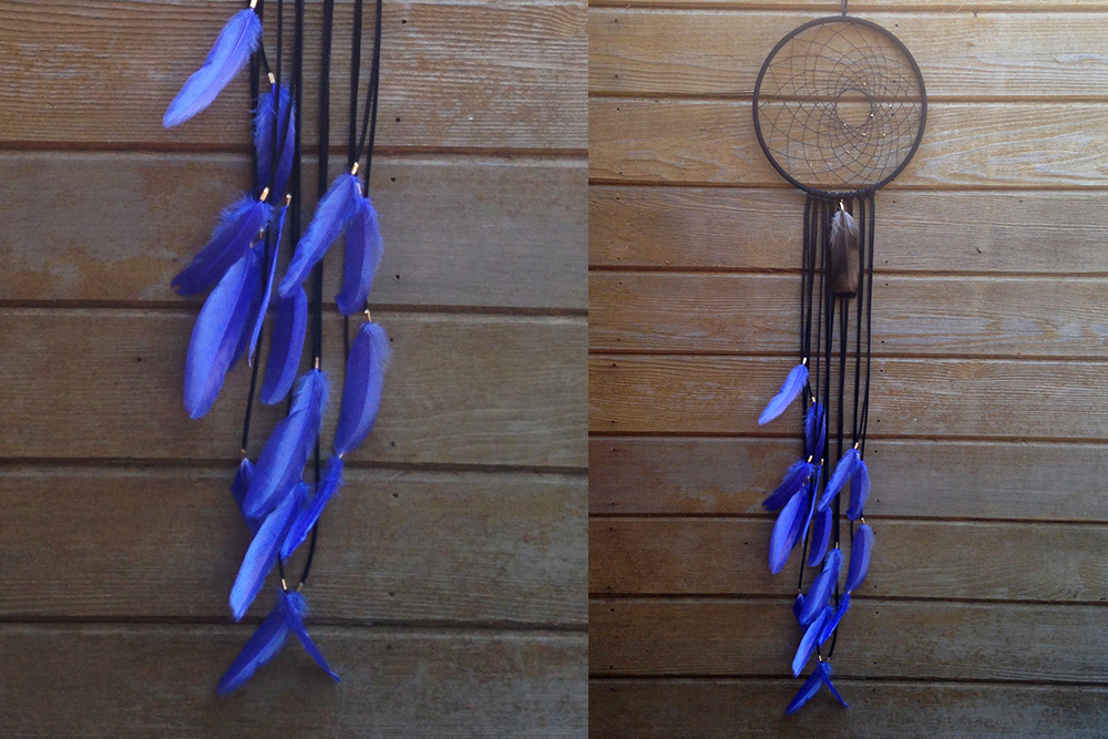 Black with Electric Blue Feathers Dreamcatcher