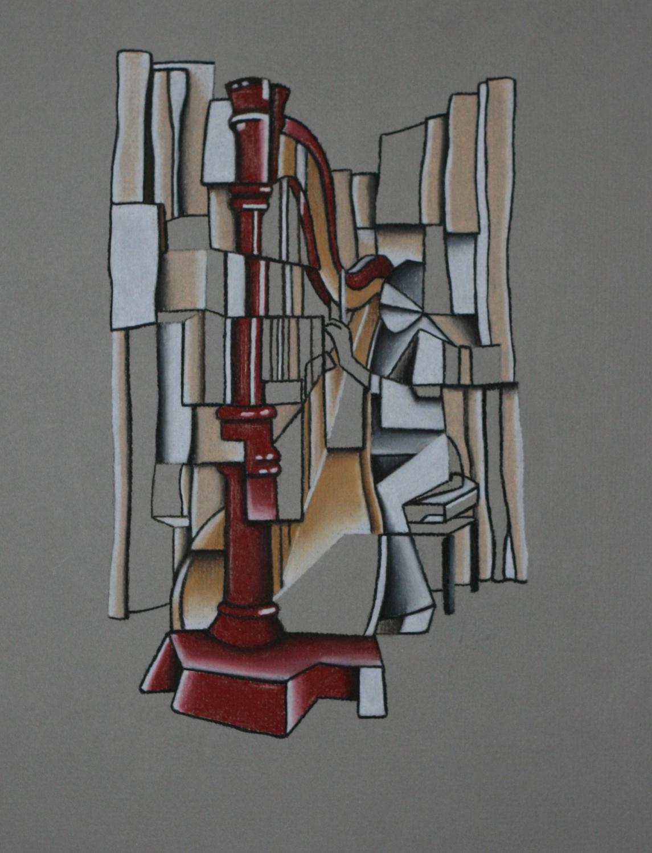 Harpist - Pastel Pencil on paper (20x30cm)