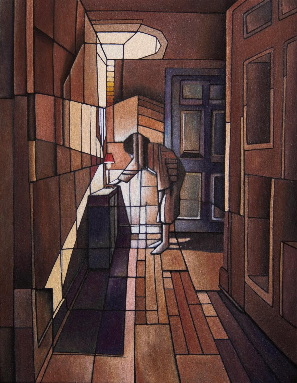 Lighting The Hallway - Oil on Canvas (35x45cm)