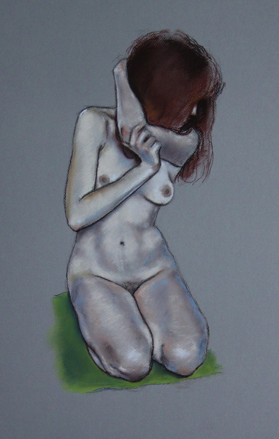 Nude On Cusion - Hard Pastel On Paper (37x55cm)
