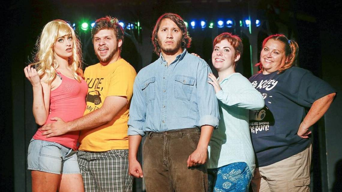 "Keely Connolly, Justin Ralph, Damian Padilla, Meredith Hollan and Angela Geer star in Roxy Downtown's production ""Evil Dead: The Musical,"" which combines horror and laughs. Fernando Salazar The Wichita Eagle"