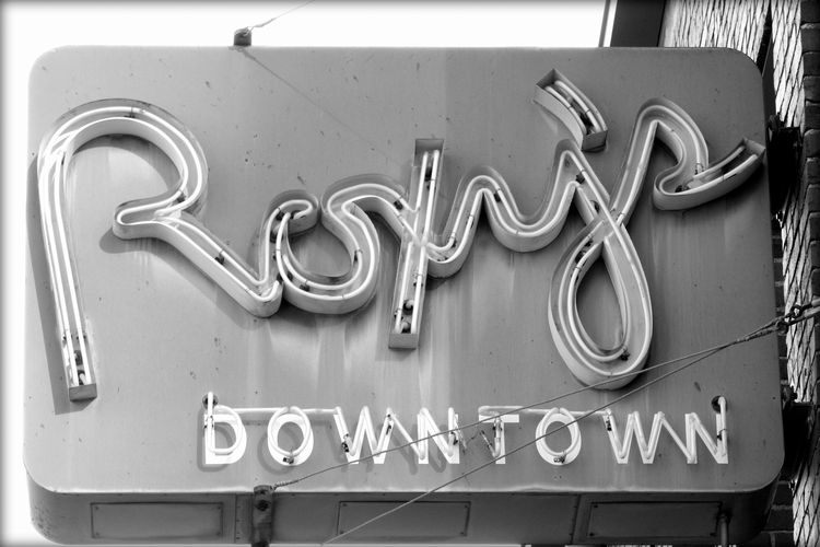 The worn sign of old Roxy's before a full restore back to the original neon glory.  Photo - Jeff Templin