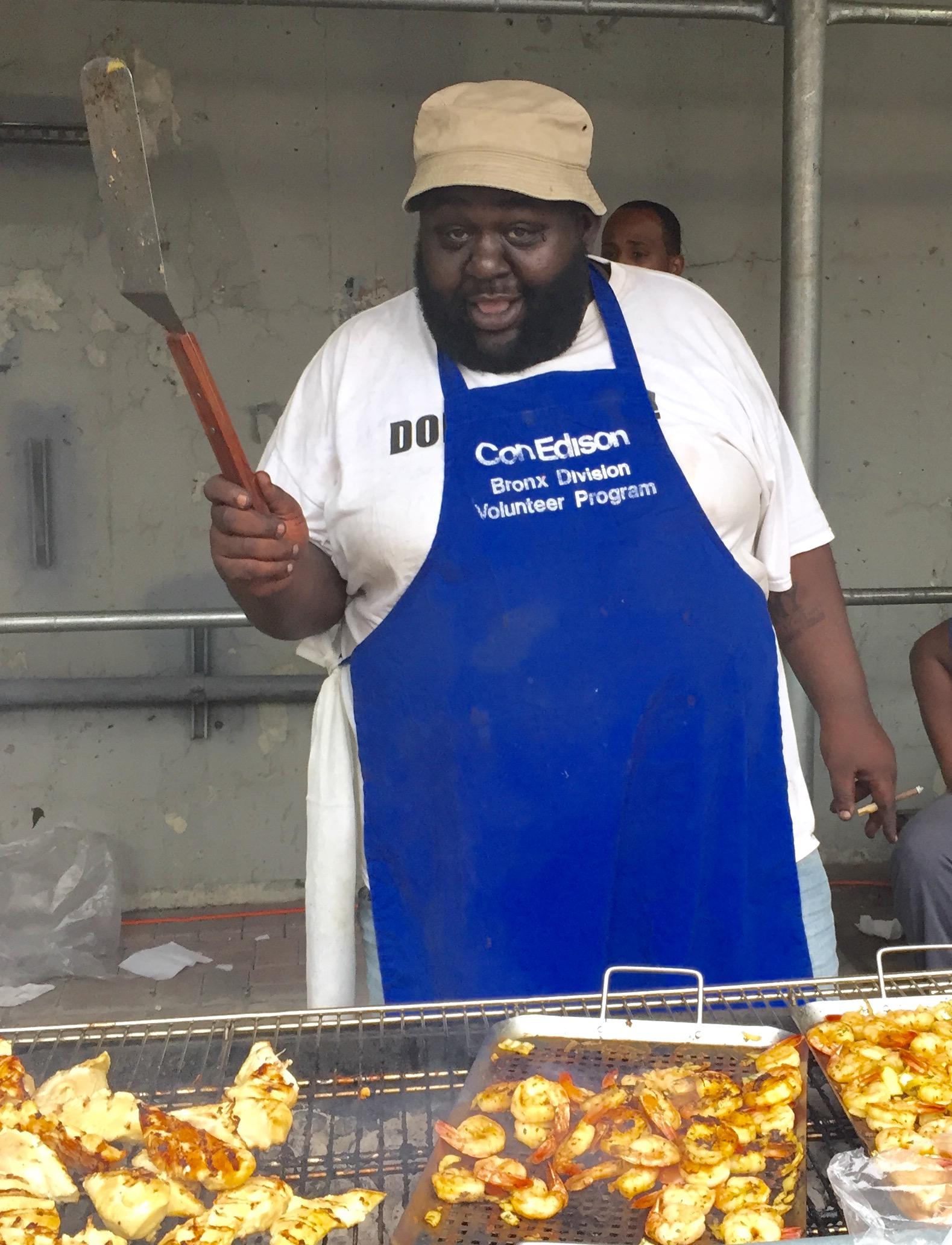 Danny Barber grilling ...