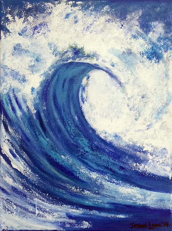 """Blue Wave - 12"""" x 16"""" Acrylic on Canvas  Prints and Framing Options Available on  Society6"""