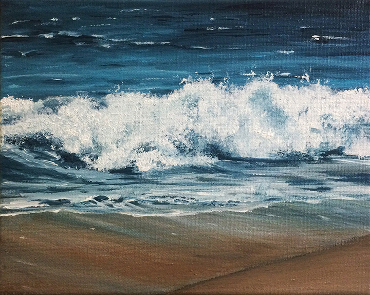 "Tiny Waves - 8""x10"" Acrylic on Canvas  Prints and Framing Options Available on  Society6"