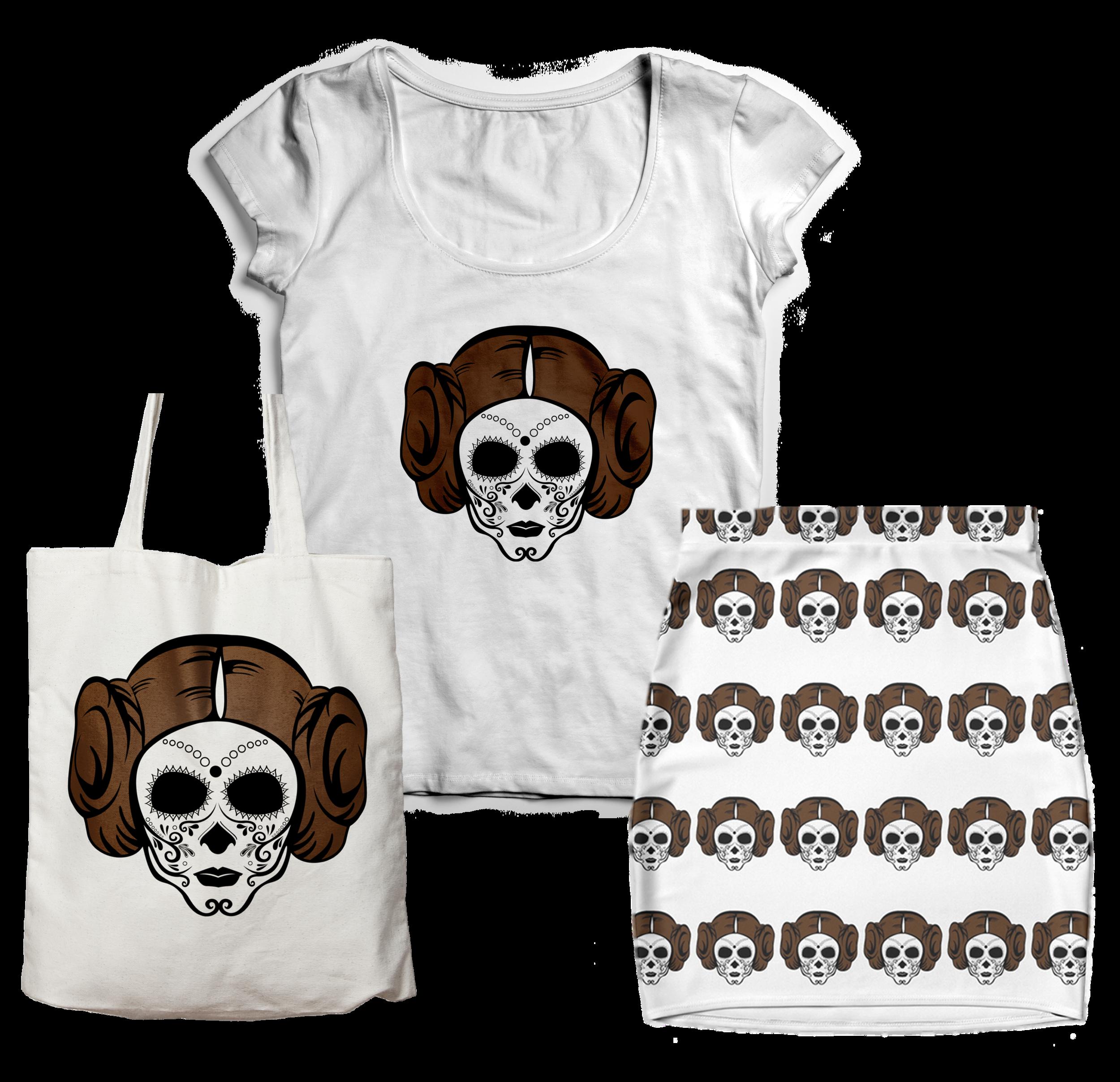 Princess Leia Sugar Skull T-shirt Tote Bag Skirt Design Jlane Design Teepublic Redbubble
