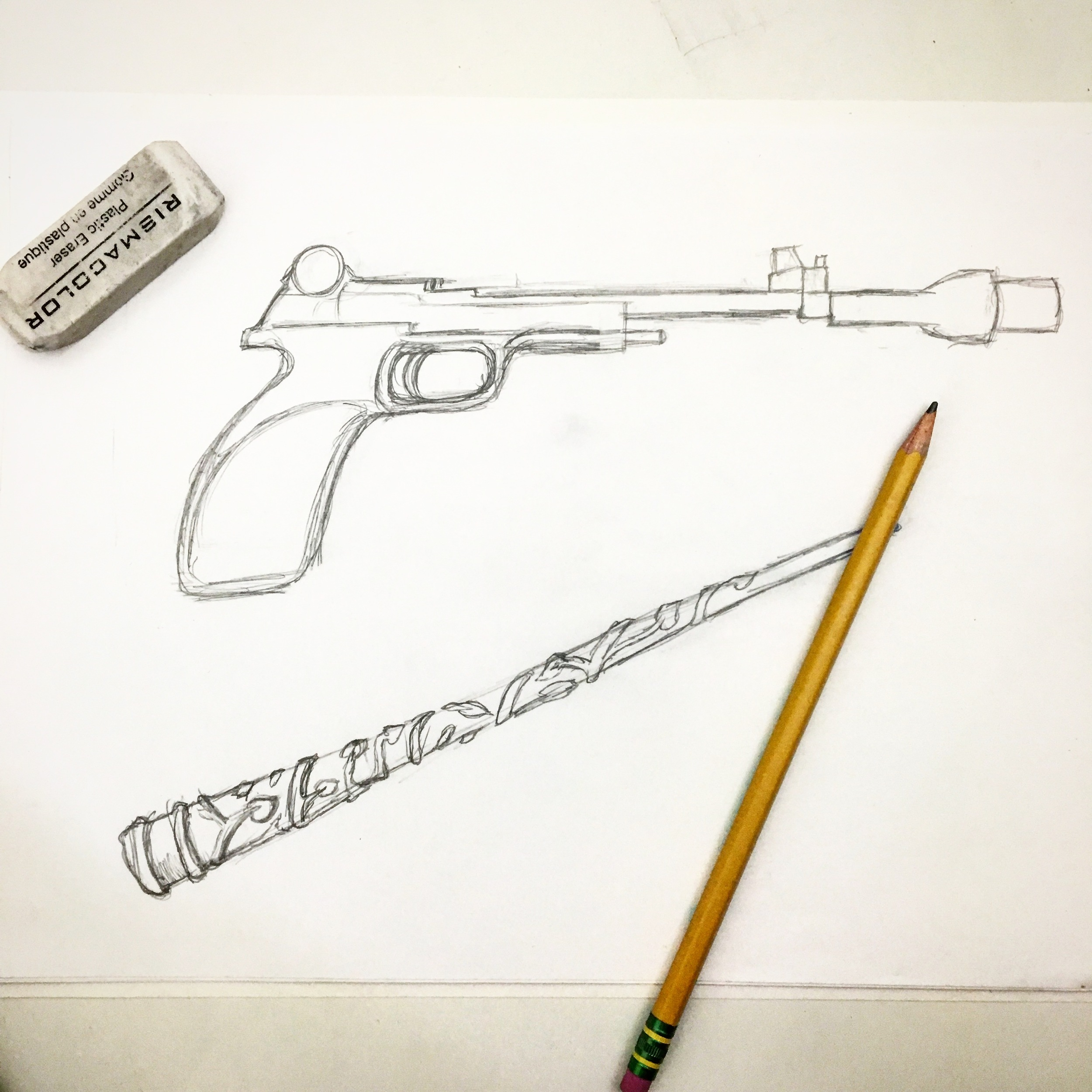 Leia's Blaster and  Hermione's Wand Sketch
