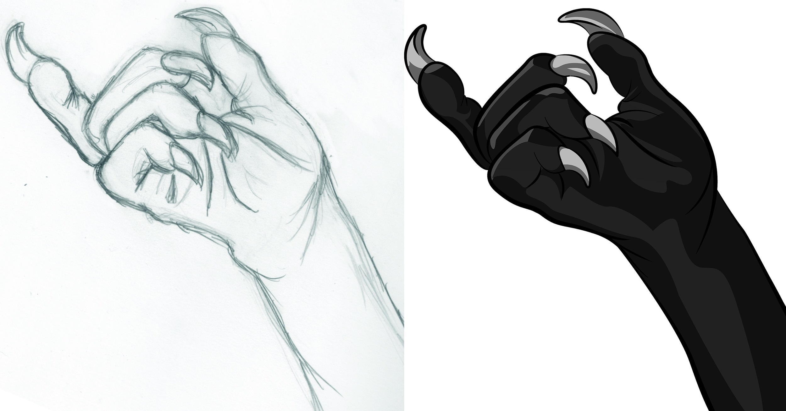 Catwoman Claws Glove Hand Sketch and Digital