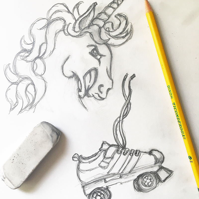 Roller Derby Unicorn and Roller Skates Sketch Jlane Design