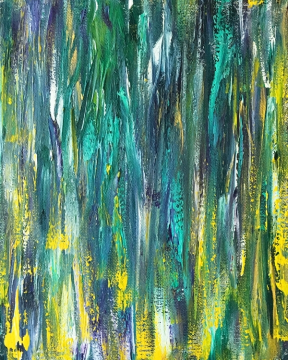 """Green Fields Abstract - 12"""" x 16"""" Acrylic on Canvas  Prints and Framing Options, Plus a Variety of Product Available on  Society6"""