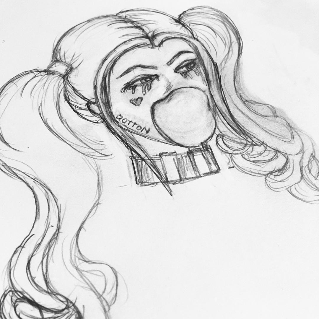 Harley Quinn Sketch Jlane Design
