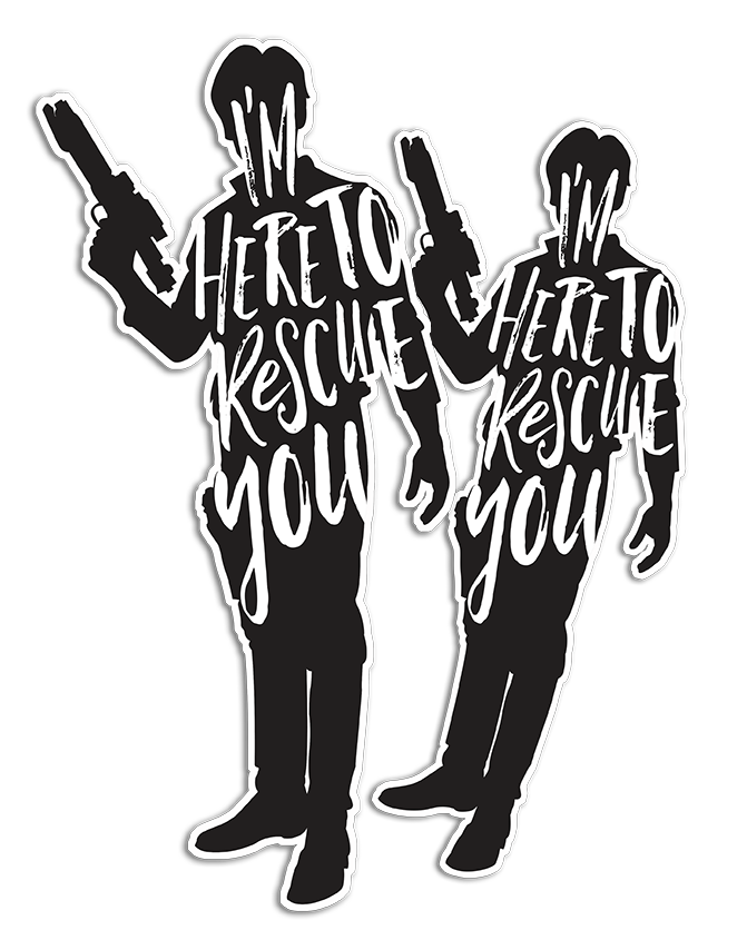 Here to Rescue You Han Solo Stickers Jlane Design