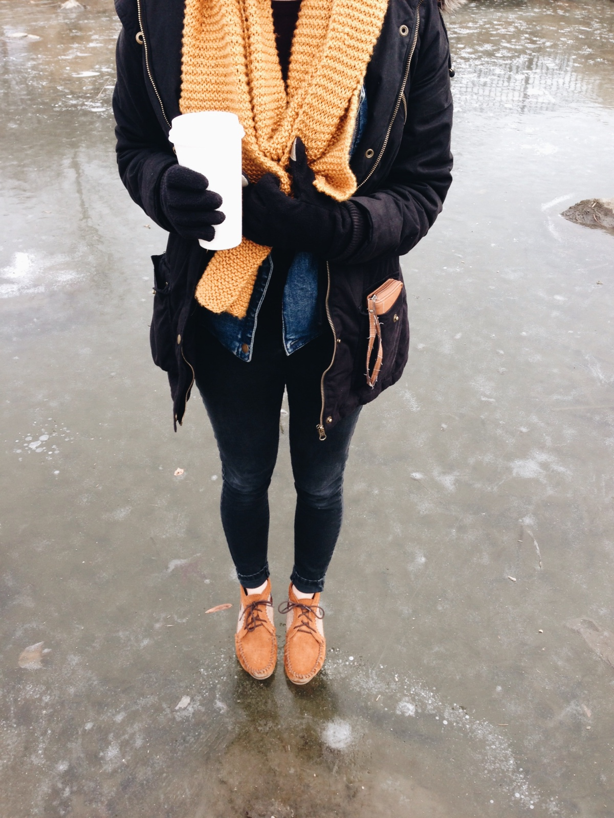 Hannah dared me to stand on a frozen pond. I was terrified, but did it anyway!