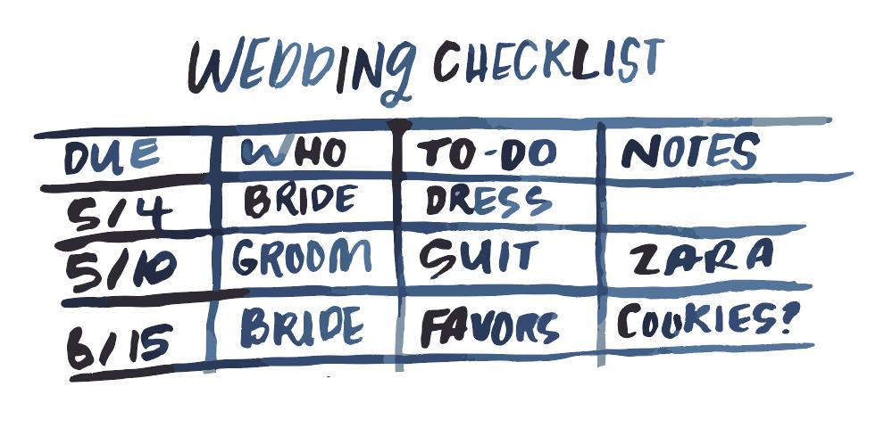 Wedding Checklist Doodle