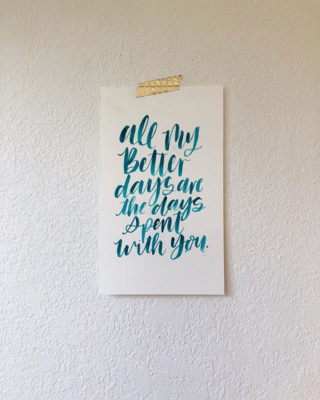 Here's the finished quote from my watercolor video, the other day! I'm such a sucker for a watercolor quote, I'd cover my house in them if I could! What quote would you like to see lettered?! #watercolor #handmade #custom #custominvitations #customwatercolor #customatationary #paper #stationary #art #paint #paperthings #watercolour #painting #goodmorning_art #instagood #instadaily #daily #artistic #buzzfeedart #wewholeart #artistic_nation