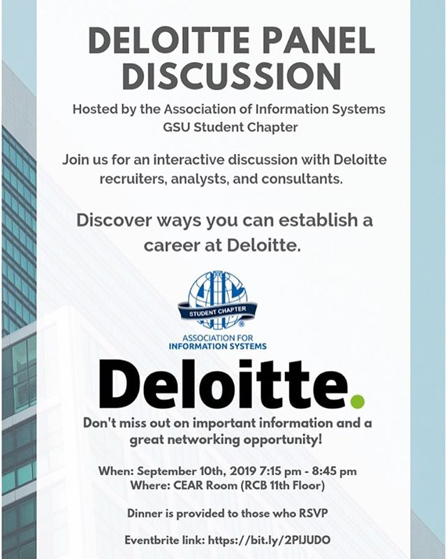 EVENT NOTICE! Our first event of this semester!! Tuesday September 10 @ 7:15pm we are having a panel discussion with members from Deloitte. Seats are limited, so make sure you RSVP! #AISGSU #Deloitte