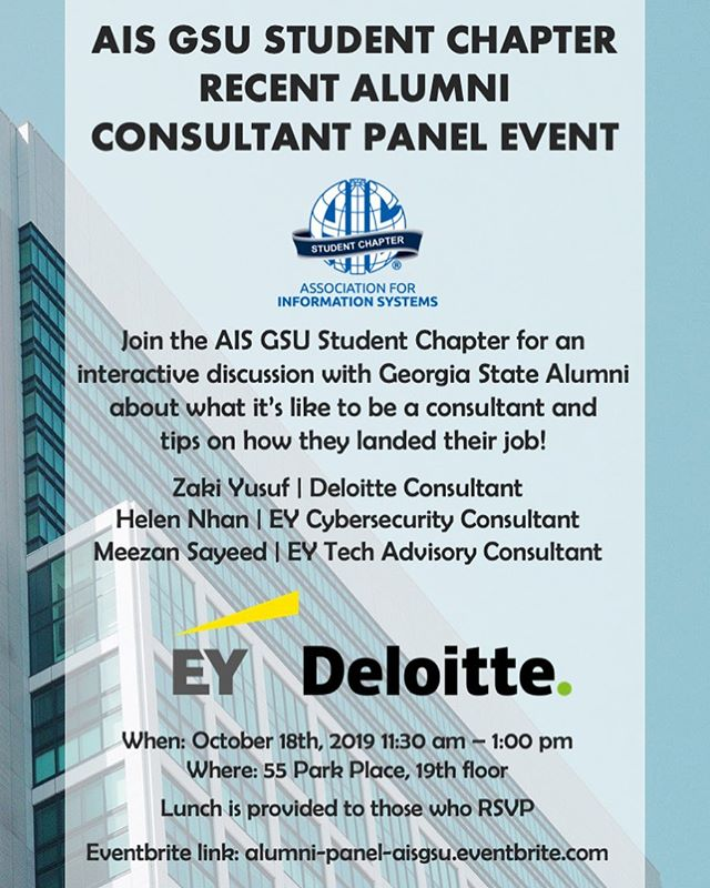 UPCOMING EVENT!  October 18, 2019 @ 55 Park Pl, 19th floor . . Meet recent GSU alumni for an interactive discussion about being a consultant and tips on how they landed their job! Lunch is provided to those who RSVP (Link in BIO!) #AISGSU . alumni-panel-aisgsu.eventbrite.com