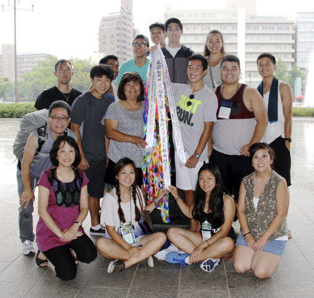 They delivered origami cranes to the Hiroshima Peace Memorial on behalf of Wesley UMC