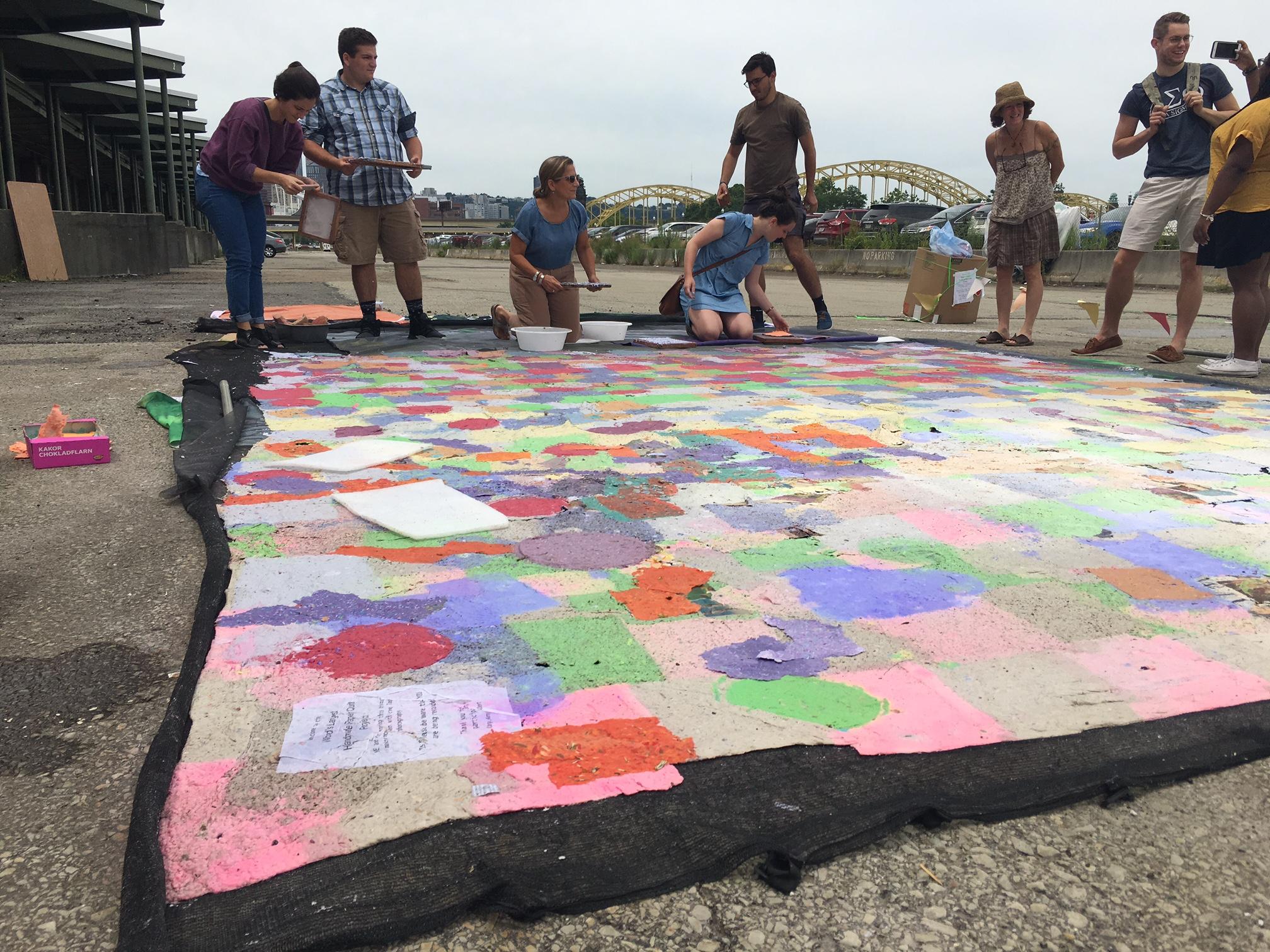 making the world's largest handmadepaper quilt.JPG