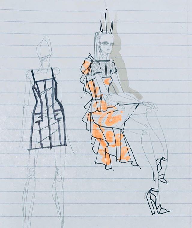 Quick sketches 🔺♦️🔻 • • • • • • • • • #fashion #fashionillustration #drawing #sketch #fashionsketch #illustration #marker #stars #glitter #legsfordays #fashionwind #hair #curls #beauty #makeup #stilettos #dress #spring #summer #queen #fashiondesign #sagafrontier #cindycampbell #zacposen #seamlines #piping