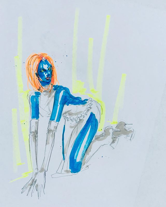 ✨Sexy🔹Mysterious💀Mystique🔹 • • • • • • • • • #fashion #fashionillustration #drawing #sketch #fashionsketch #illustration #marker #stars #glitter #legsfordays #fashionwind #hair #sexy #beauty #makeup #stilettos #dress #glamazon #runway #catwalk #marvel #marvelcomics #xmen #mystique #xmenmystique #comicart #supervillain #crawl #pose #mysterious
