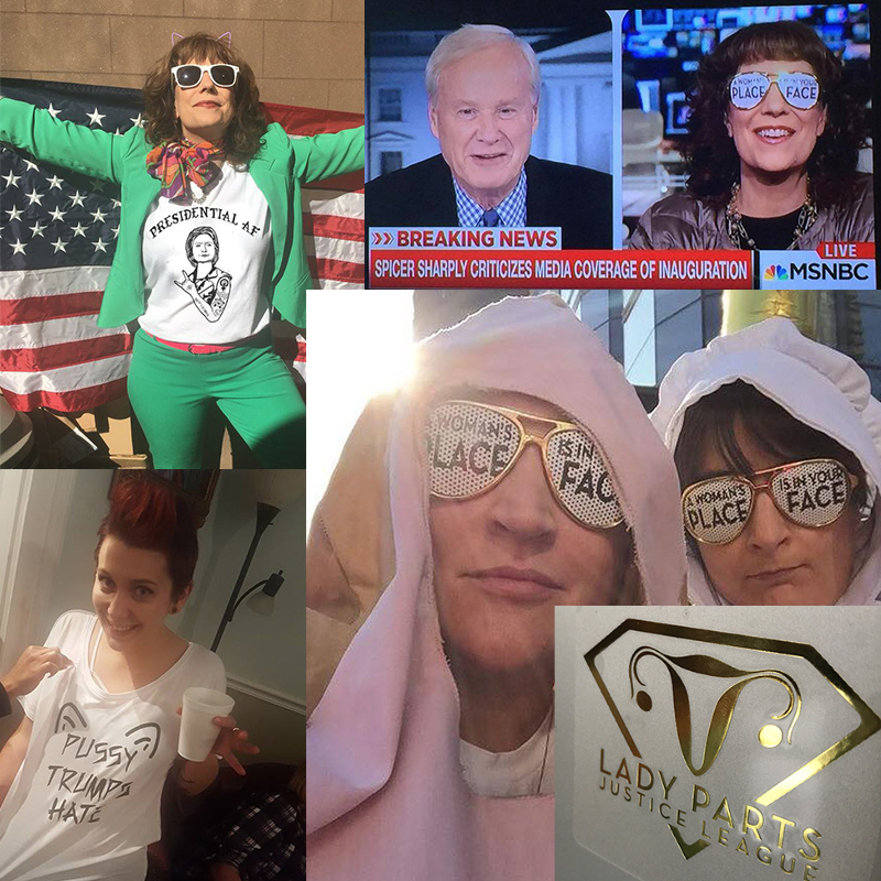 - Probably the most fun I have is designing random merch: t-shirts, stickers, banners, patches, AND badass feminist shades!