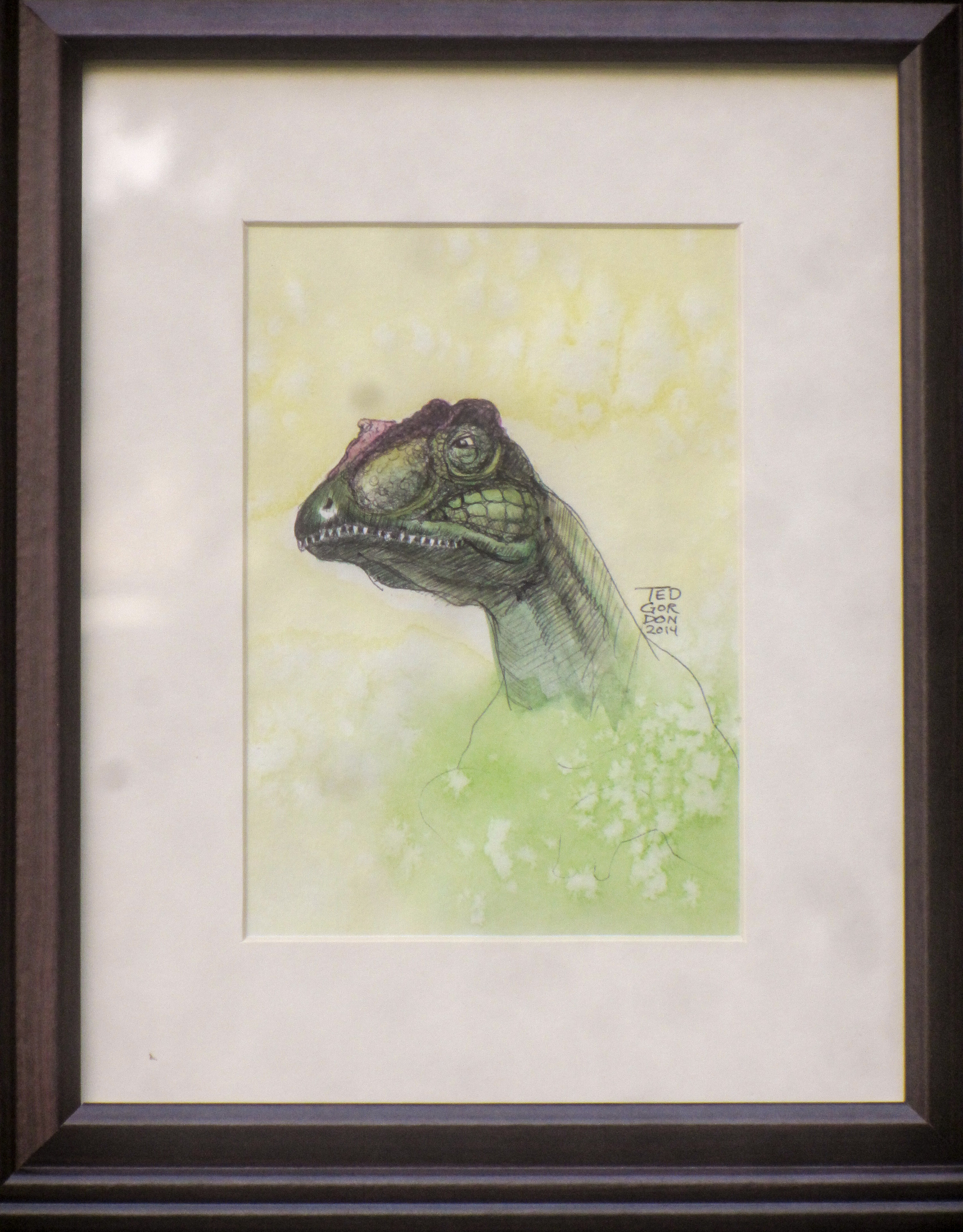 Ted Gordon Allosaurus Watercolor Sketch Framed 2014