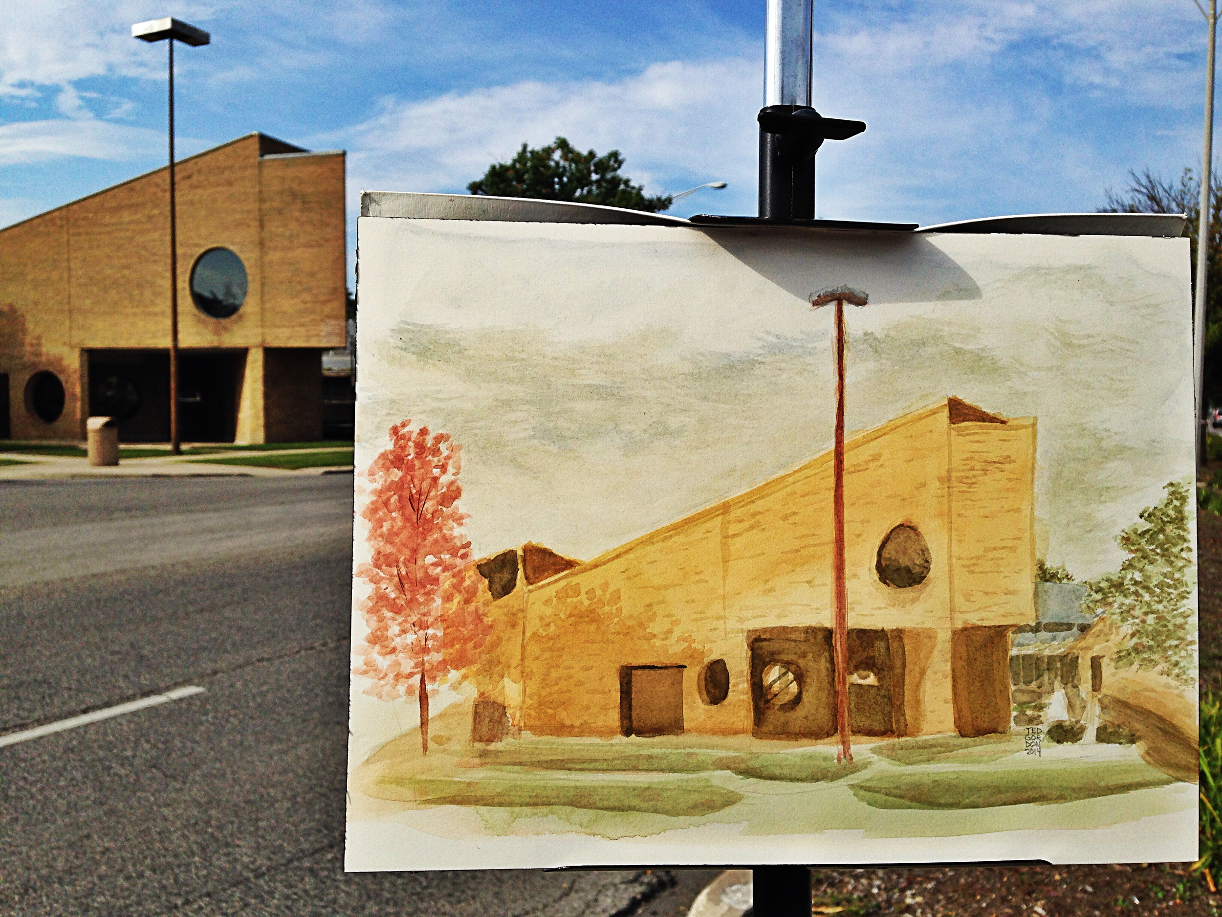 "Watercolor Painting of Village Hall, Oak Park, IL 9""x12"", by Ted Gordon, 2014"