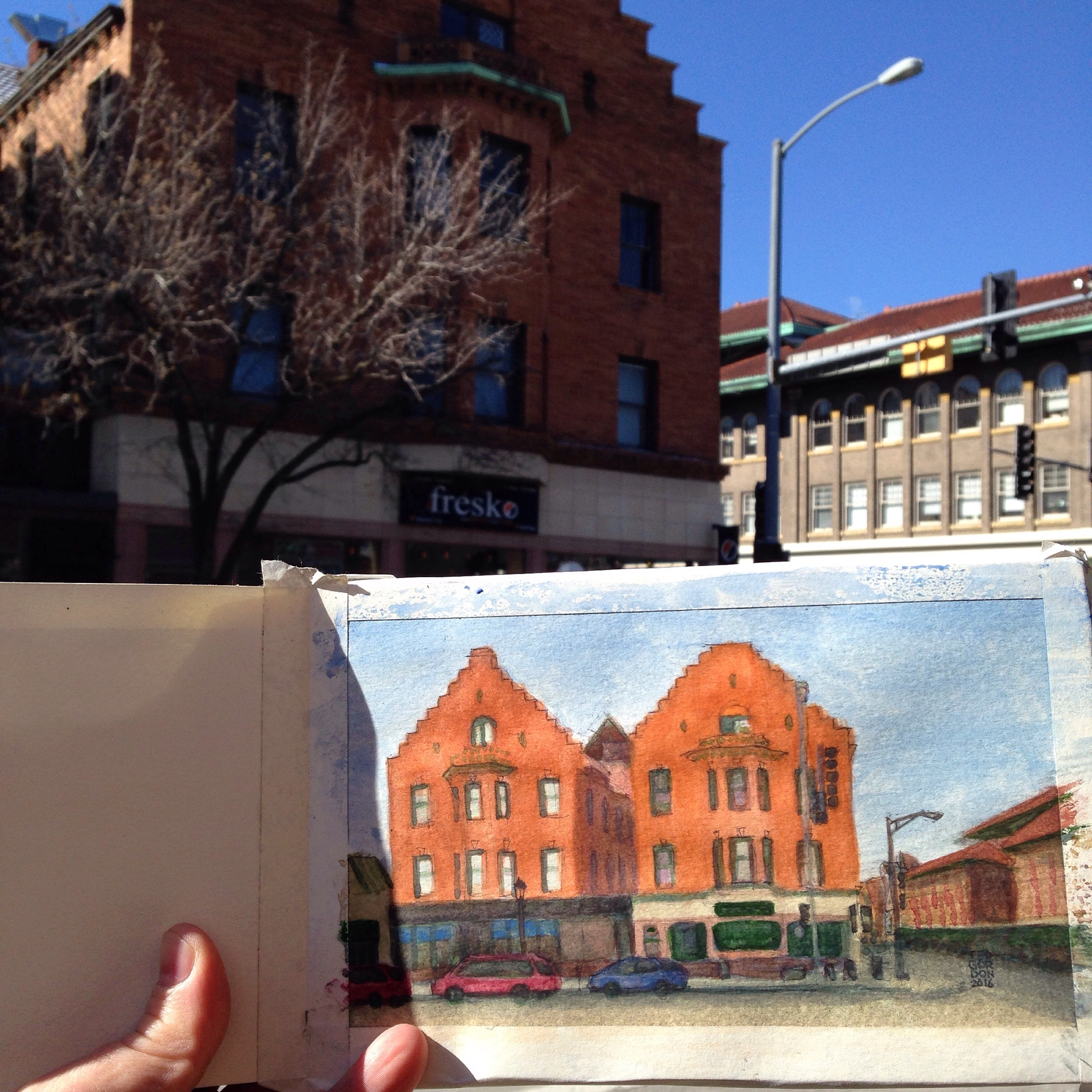 Lake & OP Ave: Watercolor painting while sitting in the cafe across the street this morning.